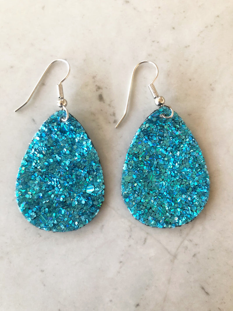 Aqua Glitter Tear Drop Earrings