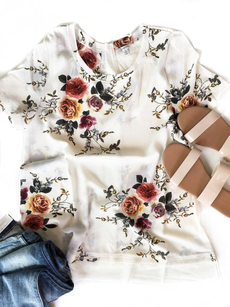 Early Mornings Floral Blouse in White