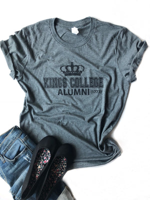Kings College Graphic Tee in Charcoal