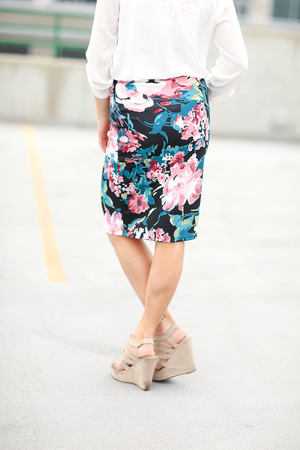 Mystery Solved Floral Skirt in Black (SALE)