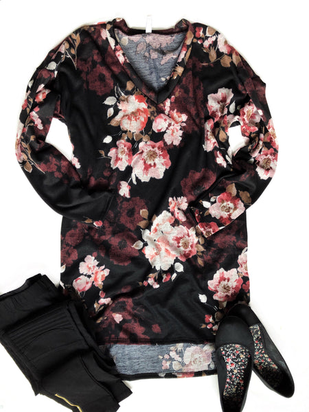 Sweet Memories Floral Tunic Top in Black