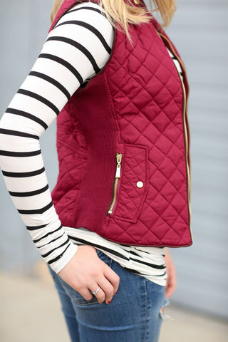 Cool Weather Vest in Burgundy