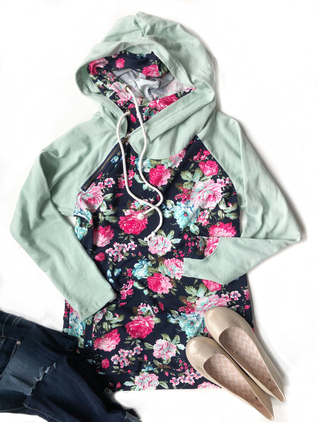 Fall In Love Navy Floral Double Hooded Sweatshirt
