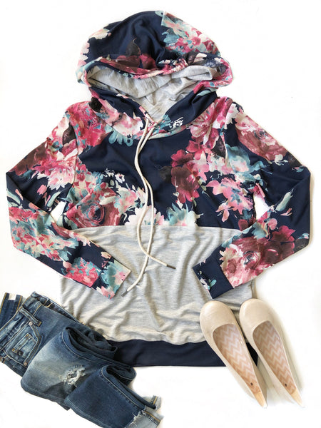 Special Days Navy Floral Hoodie in Heather Gray