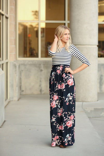 Feeling Fabulous Striped and Floral Maxi Dress in Navy