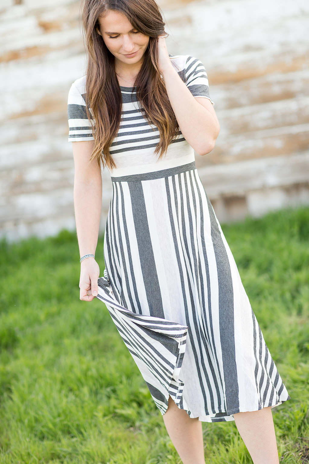 Only The Best Striped Dress in Striped Oatmeal and Gray
