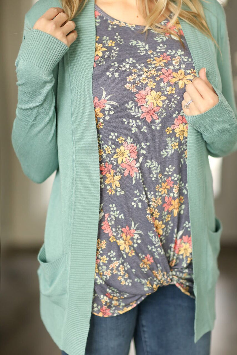 Everyday Cardigan in Aqua
