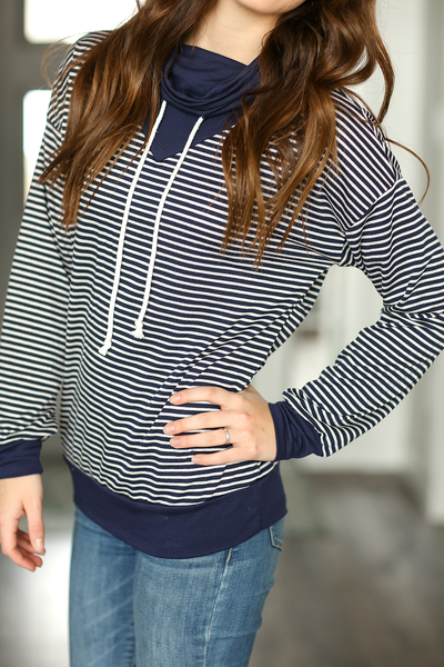 All Caught Up Navy Cowl Neck With Stripes