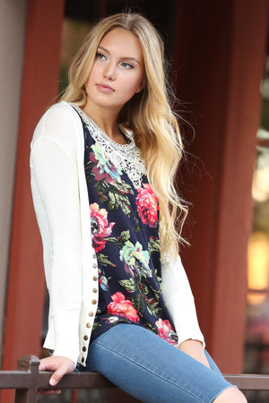 Cute As a Button Snap Cardigan in Ivory