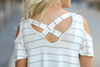 Lasting Impression Striped Gray and White Cold Shoulder Top (SALE)