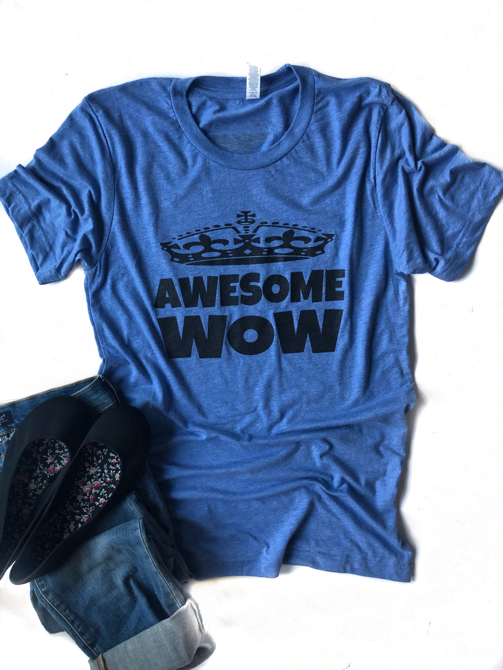 Awesome Wow Graphic Tee in Blue
