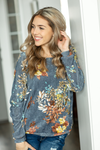 My Heart Sings Top in Dusty Blue Floral