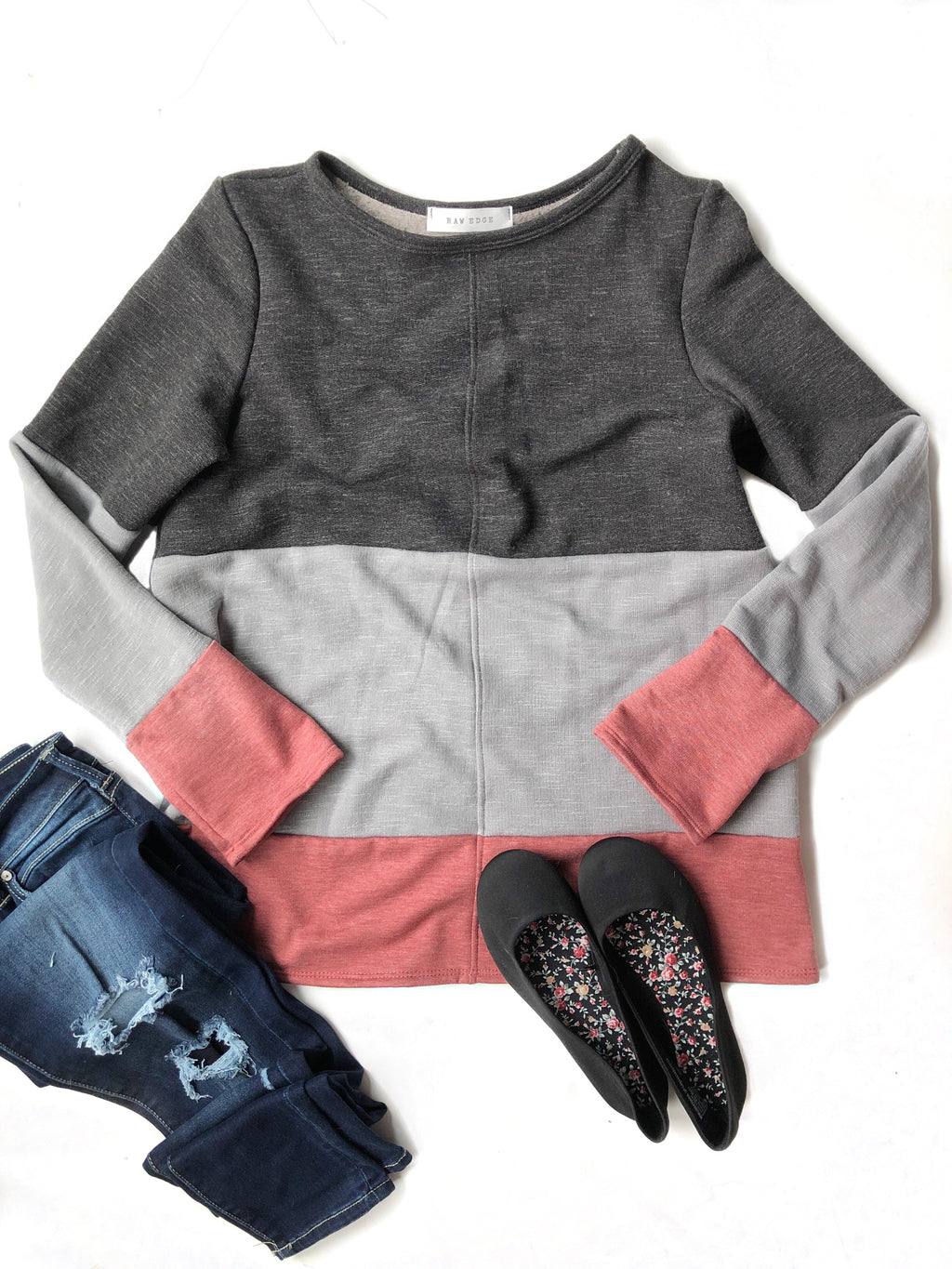 Weekend Plans Color Block Top in Black, Gray and Red