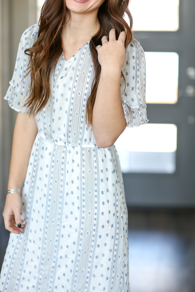 Lost in Love Patterned Dress in White and Blue