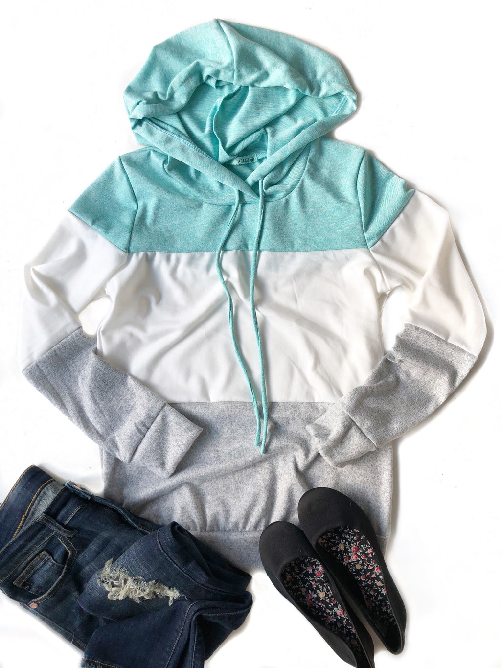 Tell Me Mint, White and Gray Color Block Hoodie