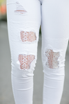 Judy Blue Patched Up Lace Denim in White