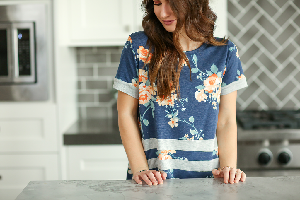 All For Floral Navy Top With Gray Stripes