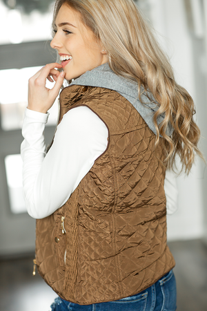 All You Need Fur Lined Vest in Coffee