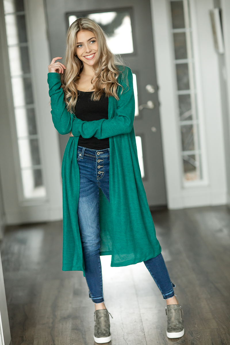 Long Live Duster Cardigan in Green