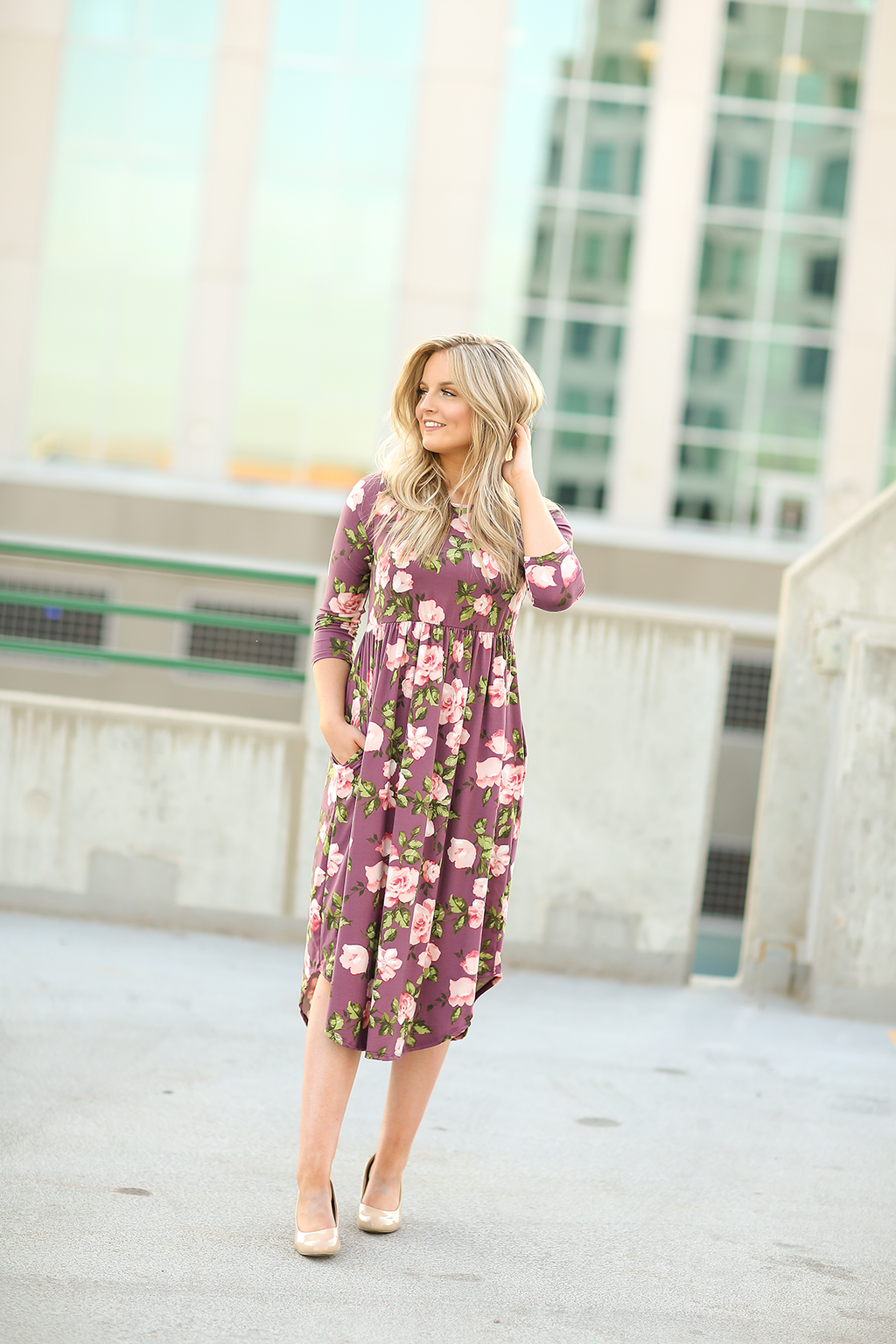 Mine Forever Floral Dress in Dusty Purple