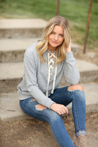 City Sleek Lace Up Top in Gray