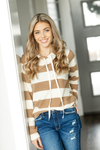 This Love Can't Die Striped Hoodie in Ivory and Mocha