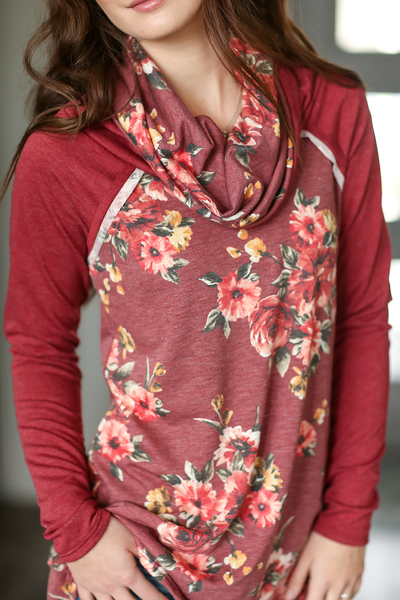 Small Talk Floral Cowl Neck in Burgundy