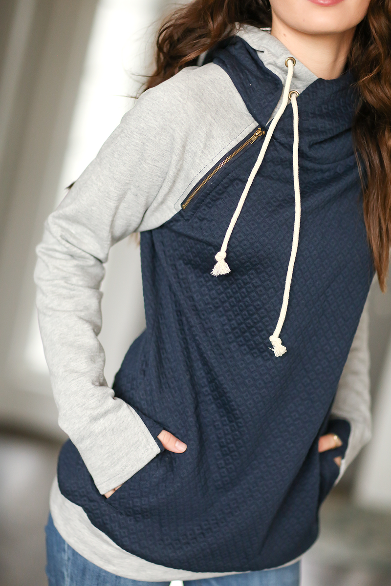 Take The Lead Double Hooded Sweatshirt in Quilted Navy