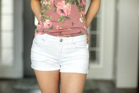 Let's Talk About It White Denim Shorts (SALE)