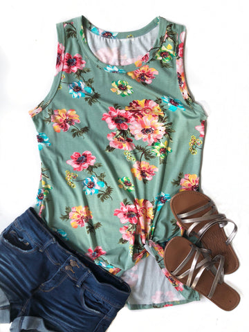 No Mystery Floral Tank in Dark Mint