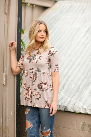 The Journey Floral Top in Cocoa