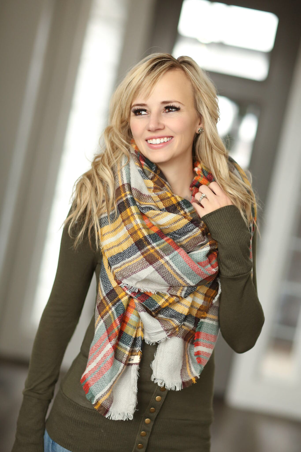 Plaid Blanket Scarf- Mustard and Brown