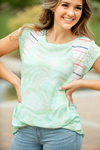 It's Magic Mint Mixed Pattern Tie Dye Top and Stripes