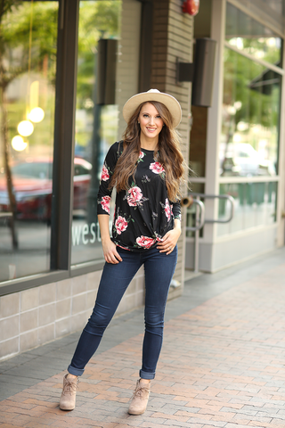 Meant To Be 3/4 Sleeve Floral Twist Tee in Black