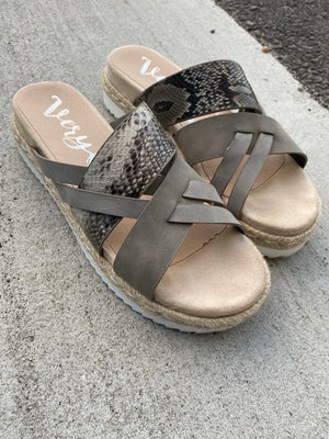 Very G Day in the City Grey Platform Sandals