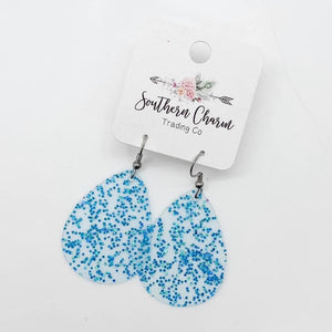 Glitter Jelly Bitty Earrings in Turquoise