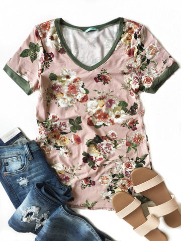 Just Can't Wait Floral Top in Pink and Olive