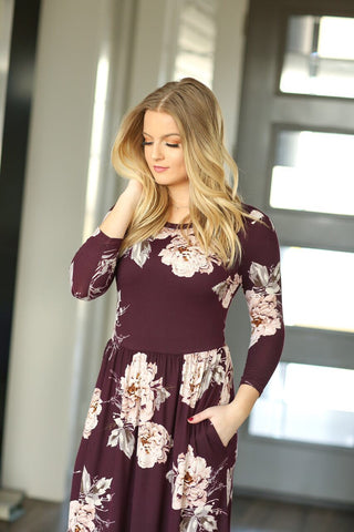Dressing Up Floral Maxi Dress in Plum