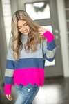 Ready To Love Striped Sweater in Hot Pink