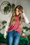 Take a Chance Striped Top in Burgundy