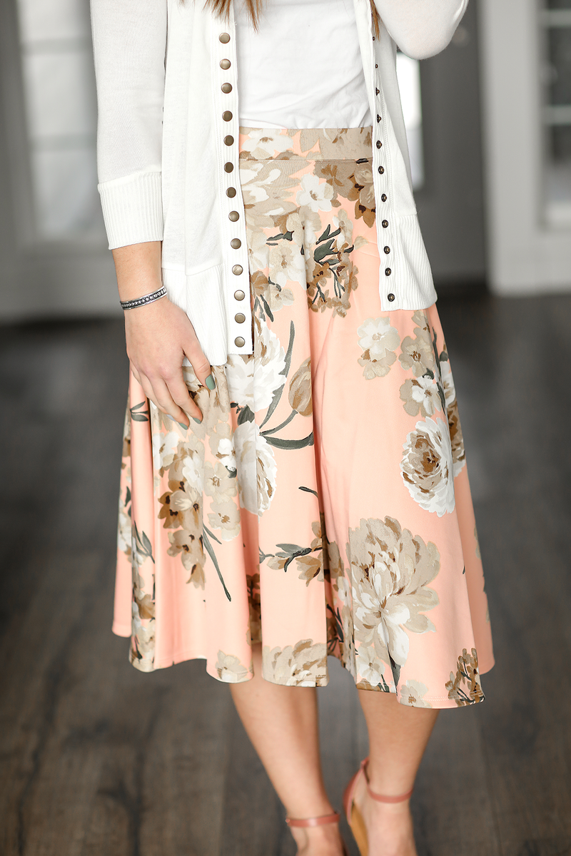 No Questions Asked Floral Skirt in Peach