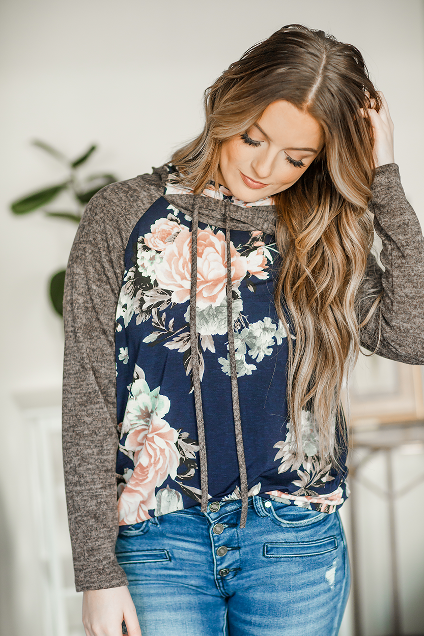 Around the River Double Hoodie in Navy Floral