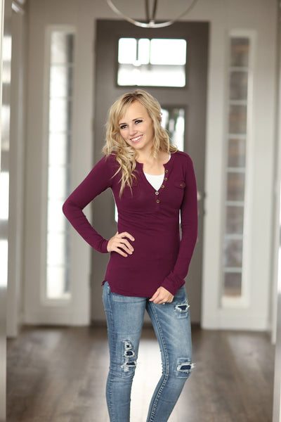 Classic Henley Tee With Buttons (Multiple Colors) (SALE)