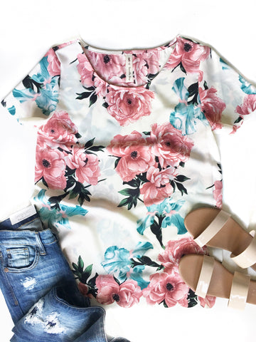 Floral Scallop Trim Top