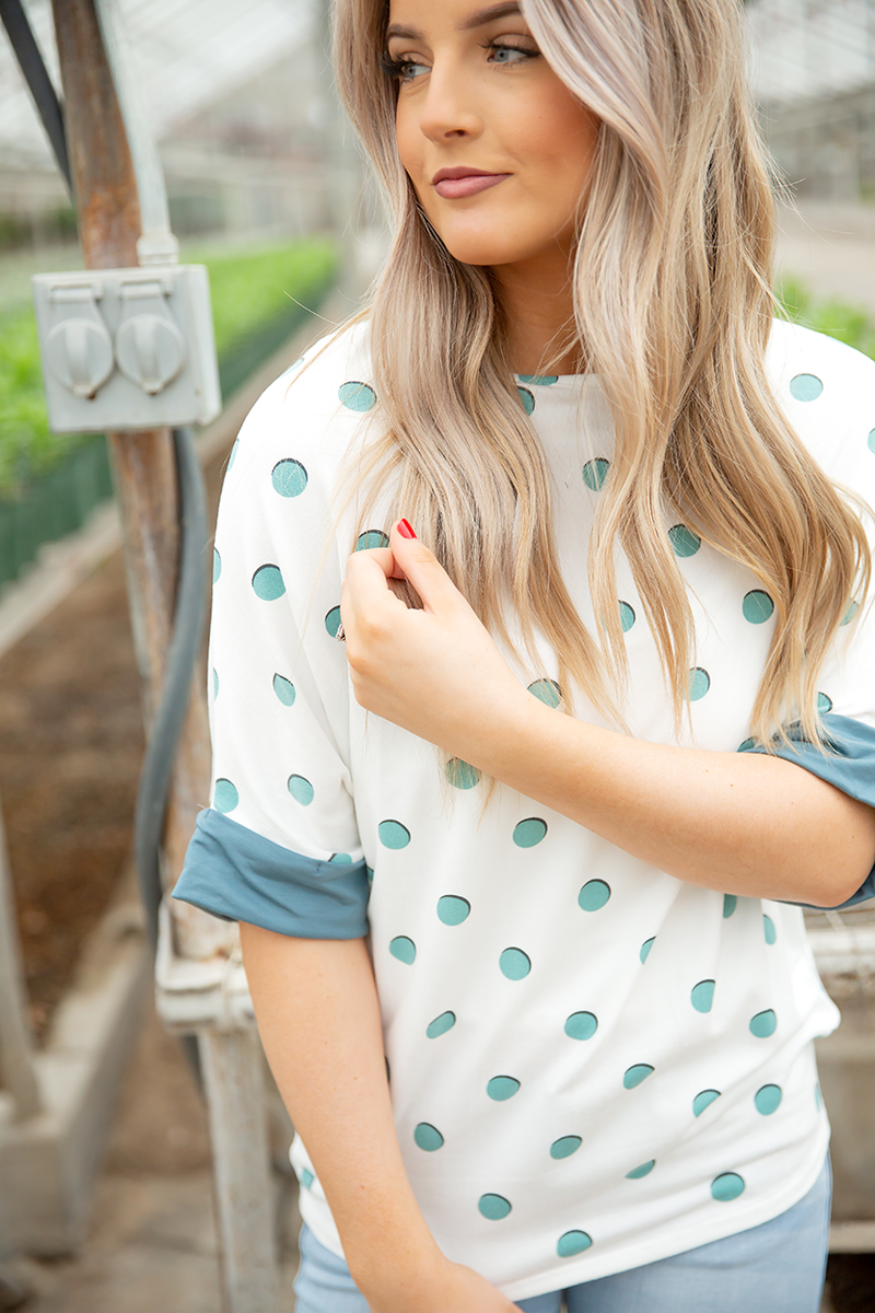 We Found Love Polka Dot Top in White and Aqua