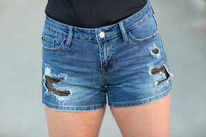 Judy Blue Patched Up Camo Denim Shorts