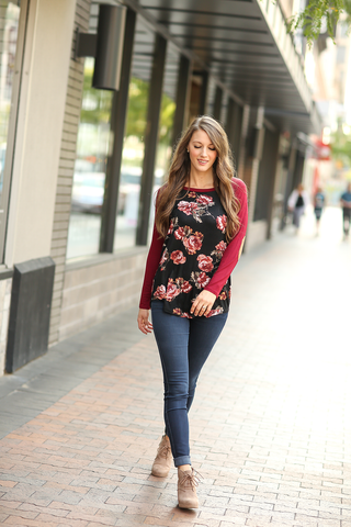 All Day Everyday Floral Baseball tee in Black and Burgundy