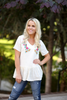 Stay Classy Embroidered Peplum Top in Cream (SALE)