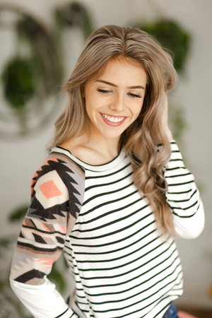 Long Way Top in Stripes with Coral Aztec