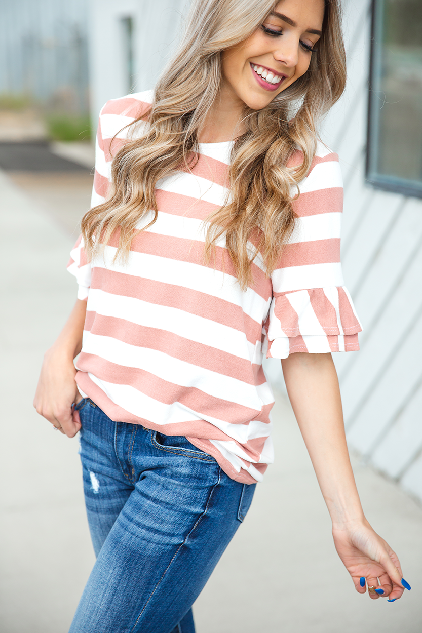 Follow You Striped Top in Mauve